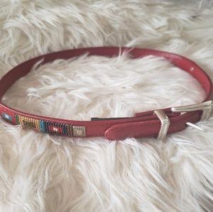 Brighton Boho Beaded Red Leather Belt size 28/S
